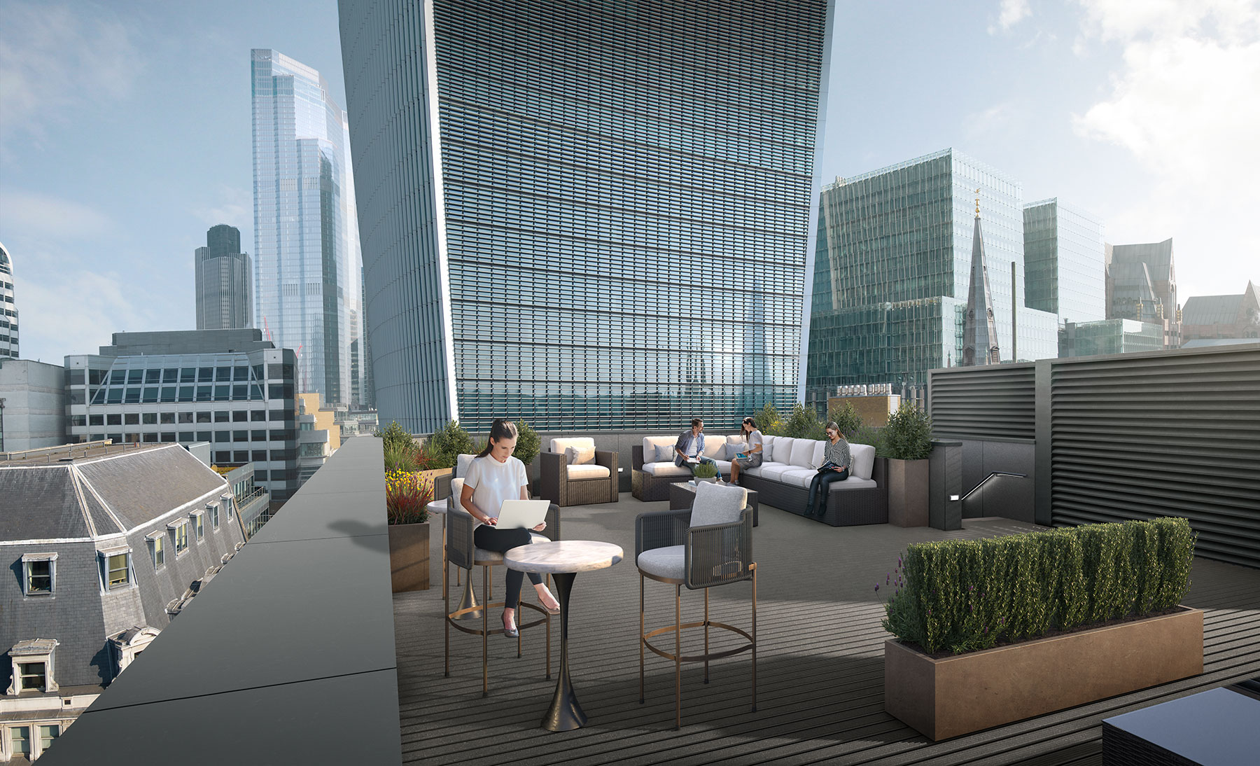 CGI of rooftop terrace facing north